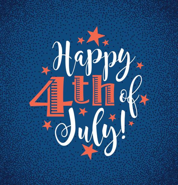 retro happy 4th of july typography design for greeting cards, web page banners, posters - happy 4th of july stock illustrations