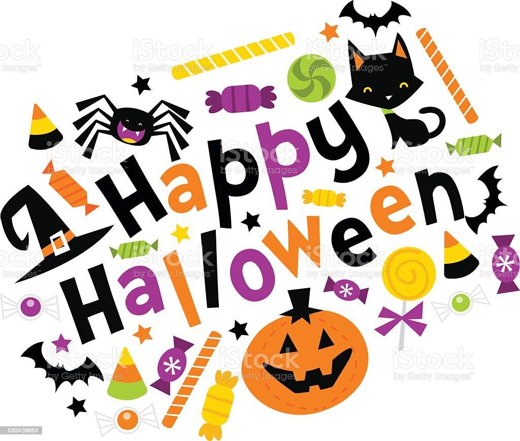 Retro Happy Halloween Trick Or Treat Phrase vector art illustration