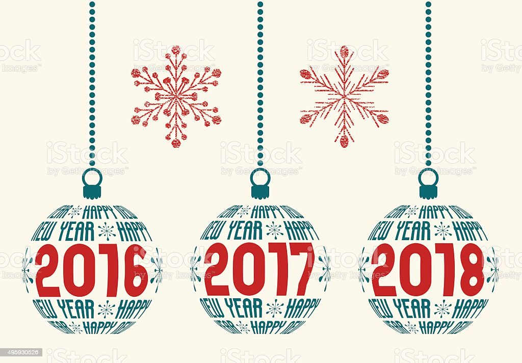 retro Happy New Year 2016-2018 design vector art illustration