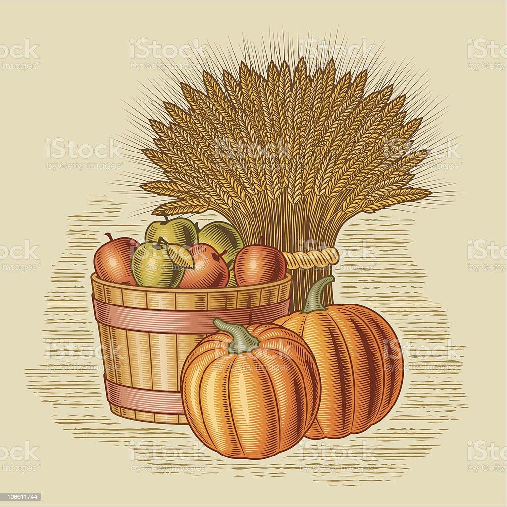 Retro harvest still life royalty-free stock vector art