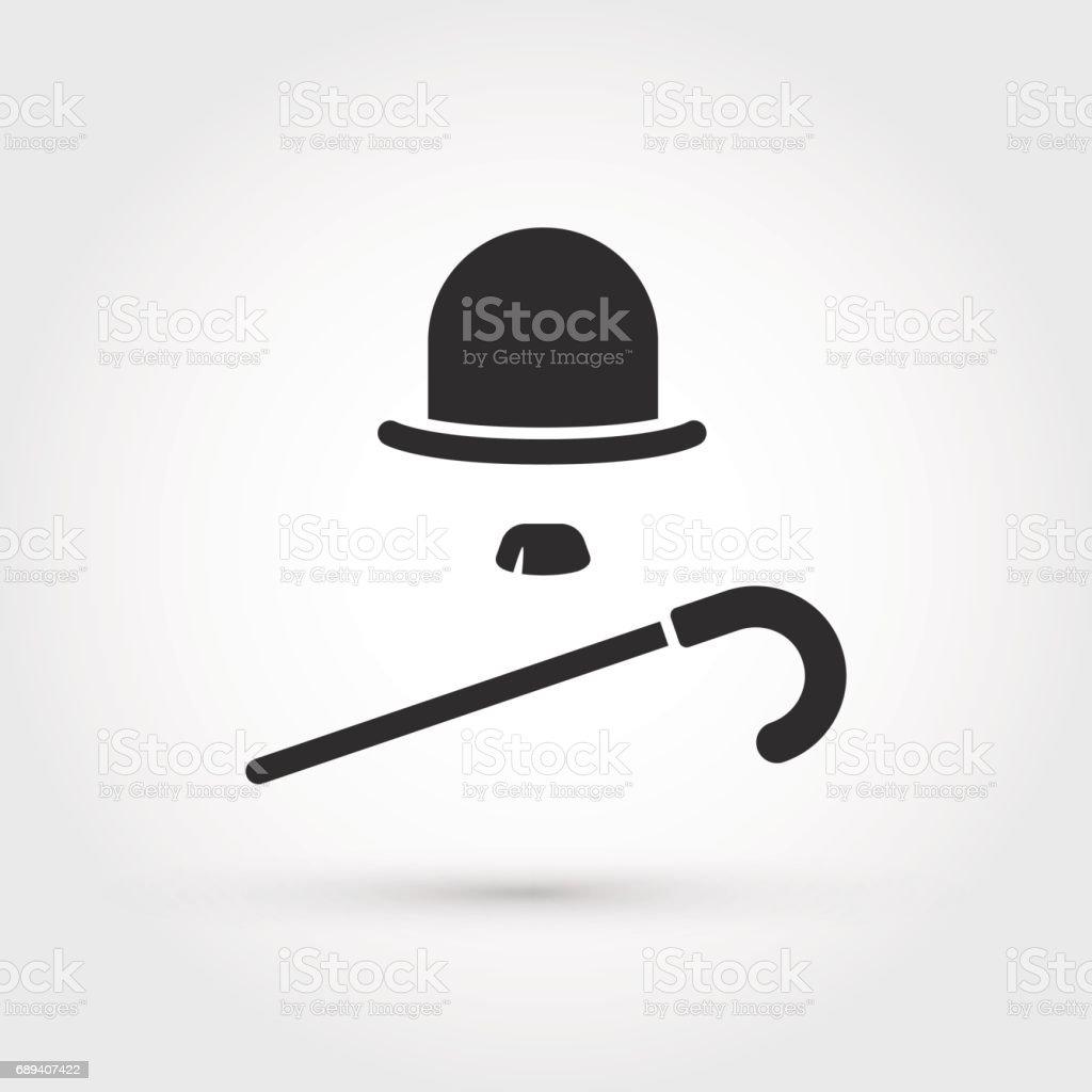 retro hat, cane and moustache icon vector art illustration