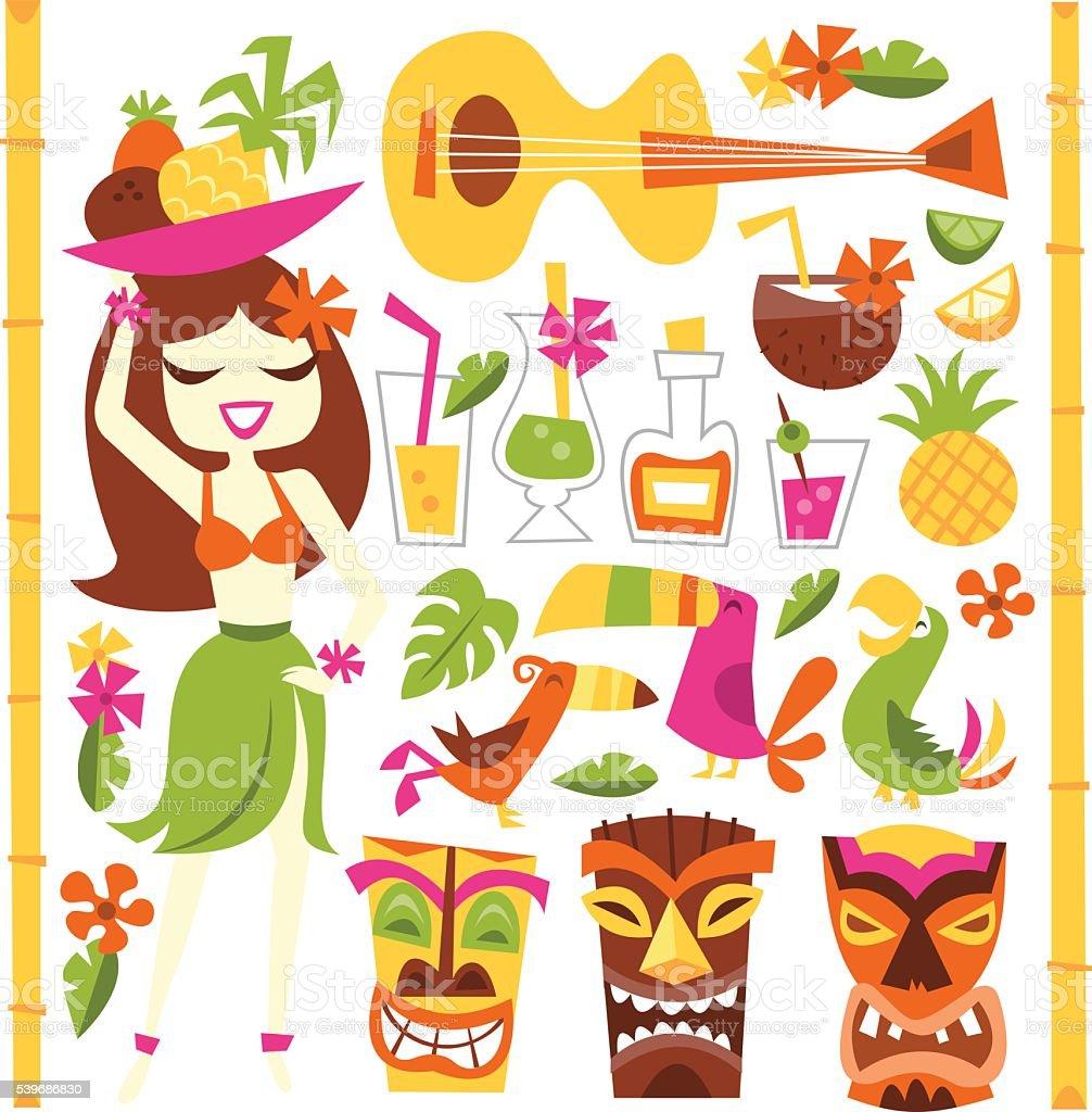 Retro Hawaiian Luau Party Set vector art illustration