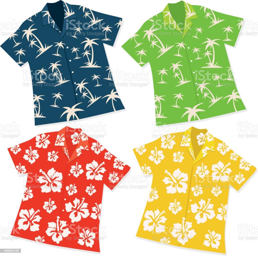 Retro Hawaiian Luau shirt set of four vector art illustration