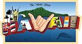 Stylized Hawaiian Postcard. With King Kamehmeha, the Hawaiian Flag, a surfer, the Shaka sign, a hula dancer, Sunset, Tiki, Diamond Head, and the ocean.