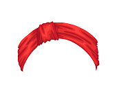 istock Retro headband for woman. Mockup of decorative hair knott. Red bandana windy hair dressing. Tied handkerchief for hairstyle 1322381633