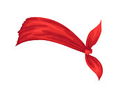 istock Retro headband for woman. Mockup of decorative hair knott. Red bandana windy hair dressing. Tied handkerchief for hairstyle 1327876542