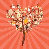 Retro Heart Shaped Tree Illustration
