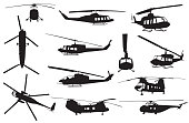 Retro Helicopter Silhouettes