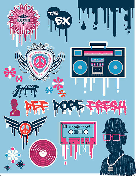 Retro Hiphop Icons vector art illustration