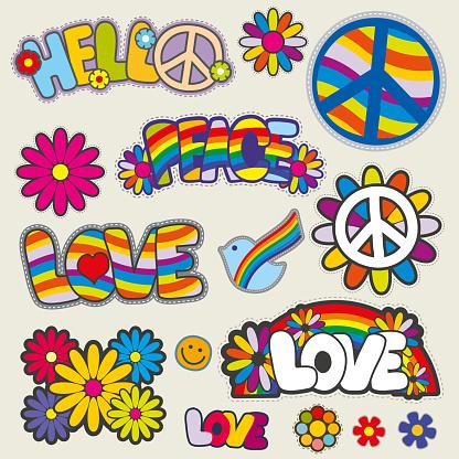Retro hippie patches vector emblems