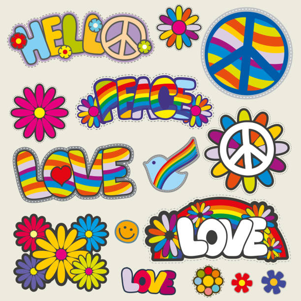 Retro hippie patches vector emblems Retro hippie patches vector emblems. Love and peace patches, illustration set of patches for hippie symbols of peace stock illustrations