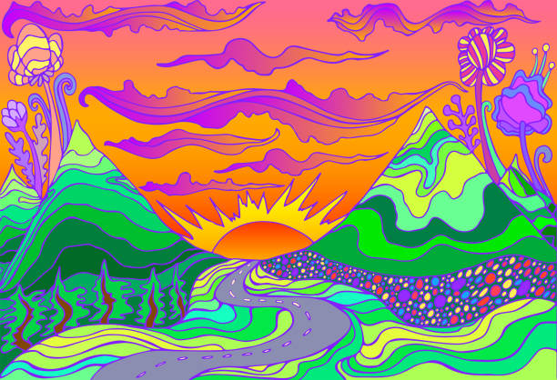 Retro hippie style psychedelic landscape with mountains, sun and the road going into the sunset. Retro hippie style psychedelic landscape with mountains, sun and the road going into the sunset. Vector hand drawn cartoon bright gradient colors background. artistic background stock illustrations