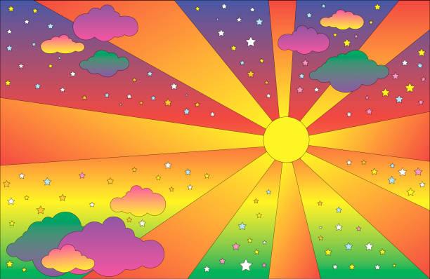 retro-hippie-stil psychedelische landschaft mit sonne und wolken, sterne. vector cartoon helle farbverlauf-farben hintergrund. - landscape crazy stock-grafiken, -clipart, -cartoons und -symbole