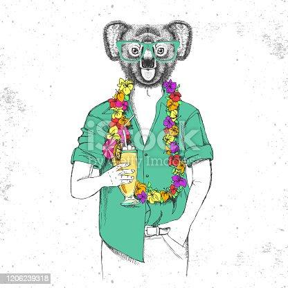 Retro Hipster animal koala with tropic cocktail