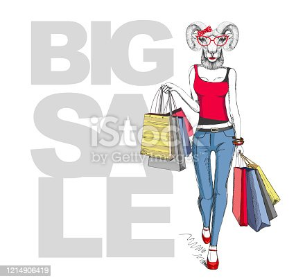 Retro Hipster animal ram or mouflon. Big sale hipster poster with woman model
