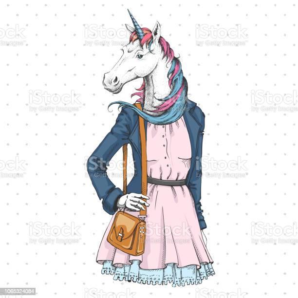 Retro hipster fashion fantasy animal unicorn woman model vector id1065324084?b=1&k=6&m=1065324084&s=612x612&h=bwswpuy2uvayj92rtedwyz oxr7zzpt2fdp53e7megc=