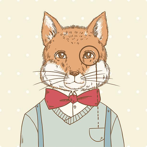 Retro hipster fox vector art illustration