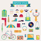 Retro hipster style elements and design icons