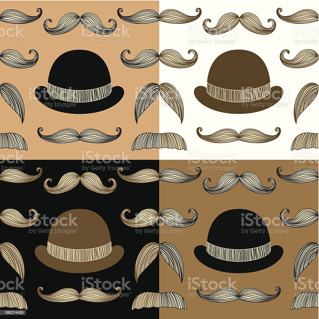 Retro Hipsters repeating pattern 4 colors royalty-free retro hipsters repeating pattern 4 colors stock vector art & more images of adult