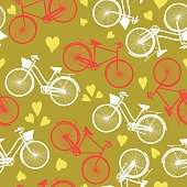 Retro His And Hers Bicycle Seamless pattern