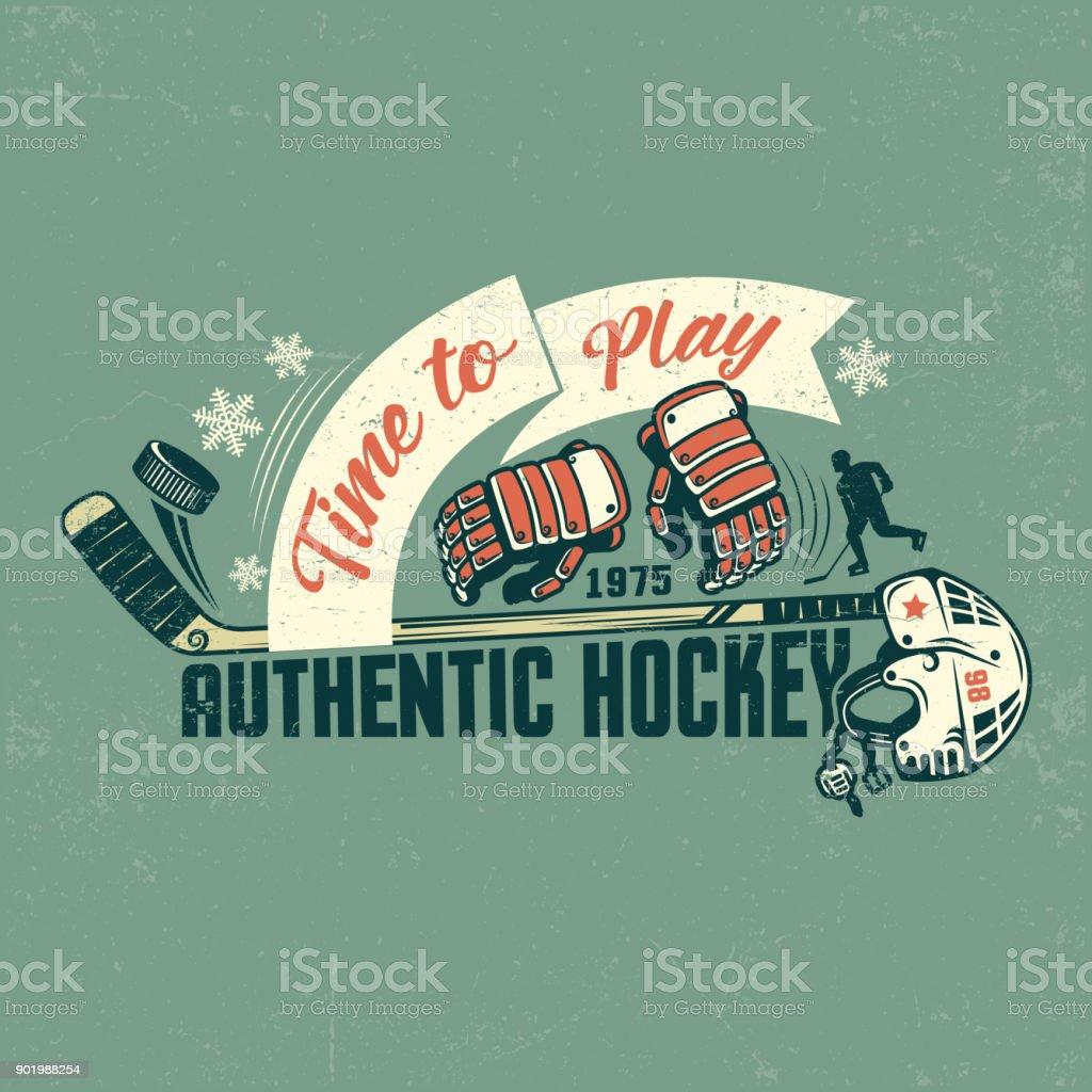 Retro hockey poster vector art illustration