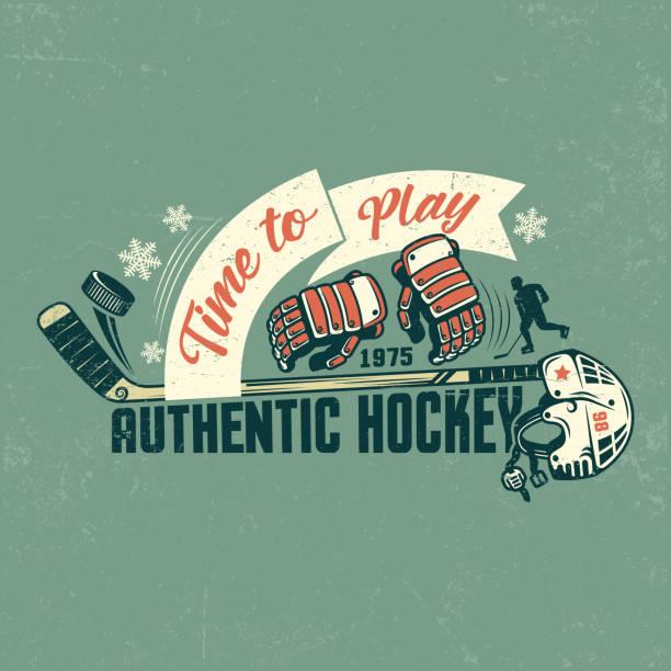 ilustraciones, imágenes clip art, dibujos animados e iconos de stock de cartel retro de hockey - hockey