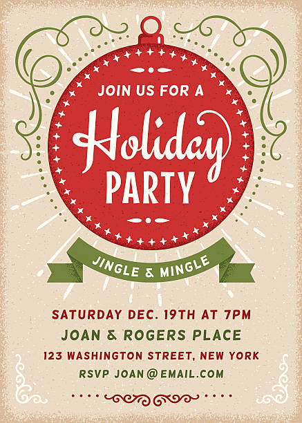 Retro Holiday Invitation with Copy Space. vector art illustration
