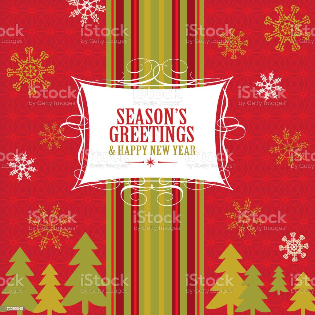 Retro Holiday themed greeting card design template royalty-free stock vector art