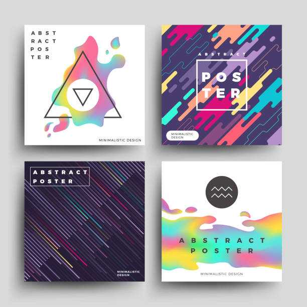 Retro holographic and motion geometric, cosmic energy abstract vector backgrounds set vector art illustration
