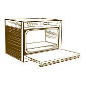 istock Retro home cooker in monochrome sketch style 1288821821
