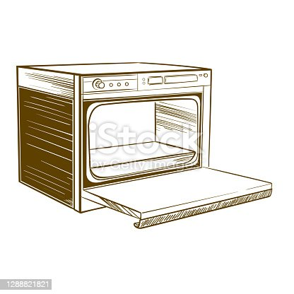 Retro home cooker in monochrome sketch style on white background