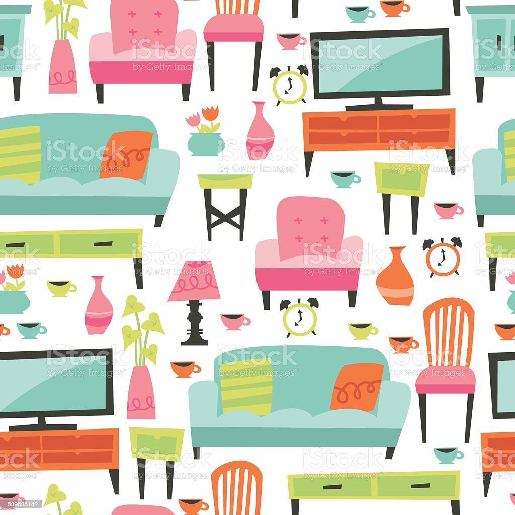 Retro Home Living Furniture Seamless Pattern Background vector art illustration
