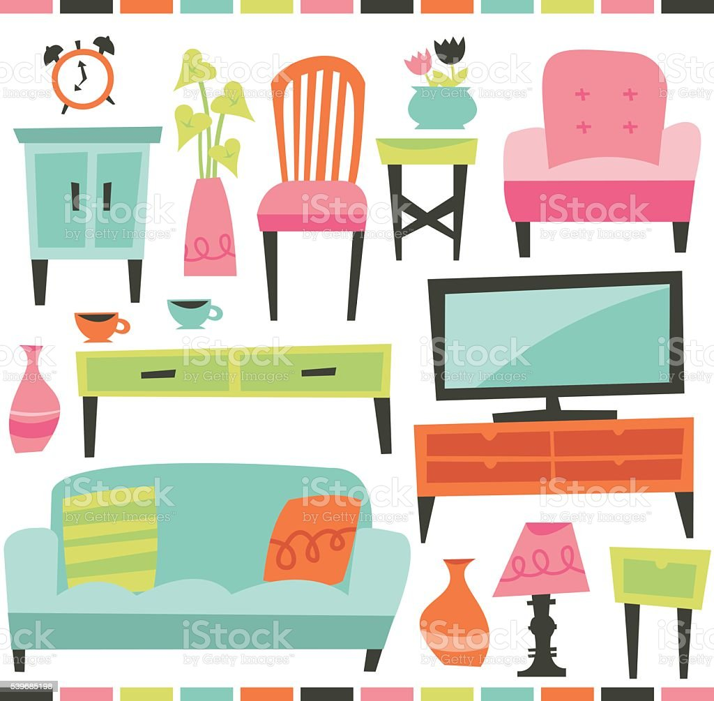 Retro Home Living Furniture Set vector art illustration