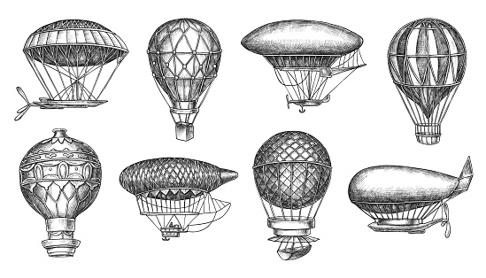 Retro hot air balloon aerostat and dirigible freehand drawing vector illustration.