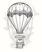 Retro hot air balloon sketch