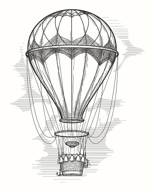 retro hot air balloon sketch - hot air balloon stock illustrations