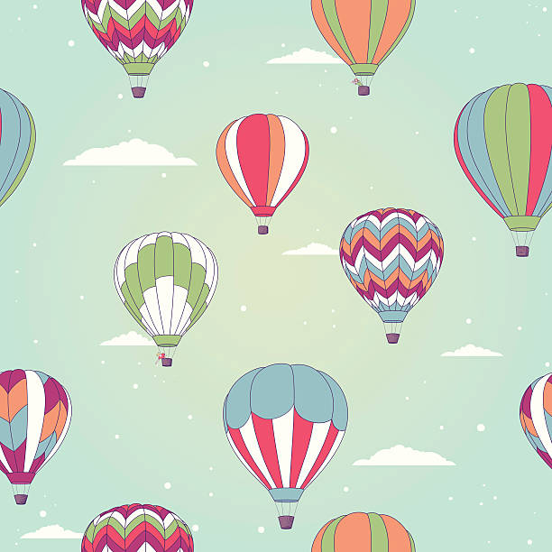 retro gorącym powietrzem balon - hot air balloon stock illustrations