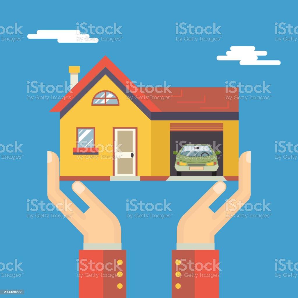 Retro-menschliche Hände mit Haus Immobilien modernen Flat-Design – Vektorgrafik