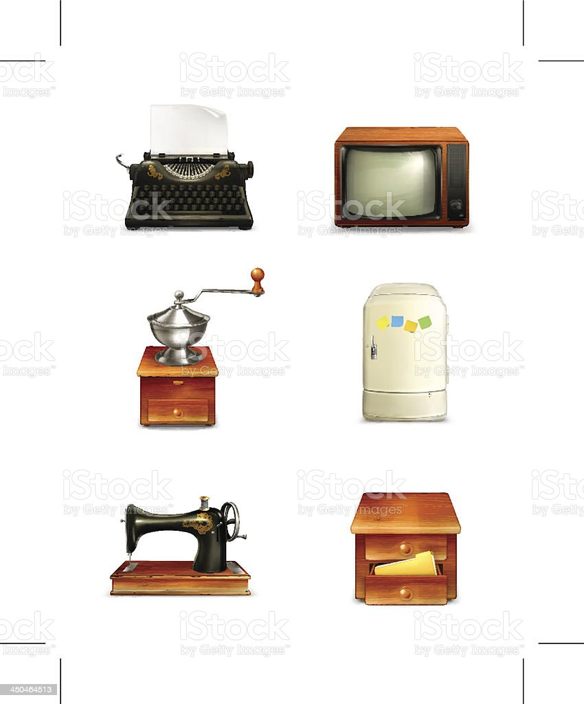 Retro icon set royalty-free stock vector art