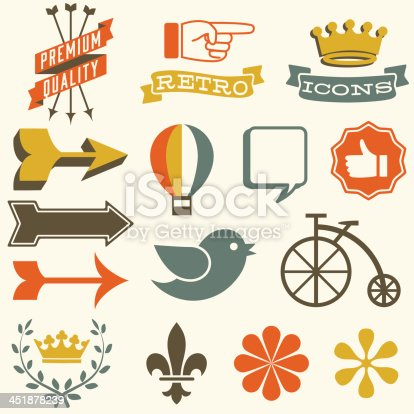 Set of retro themed icons.  Each icon is grouped separately and colors are global for easy editing.