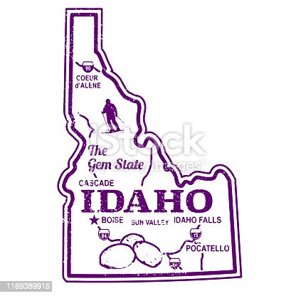 Retro Idaho Trave Stamp