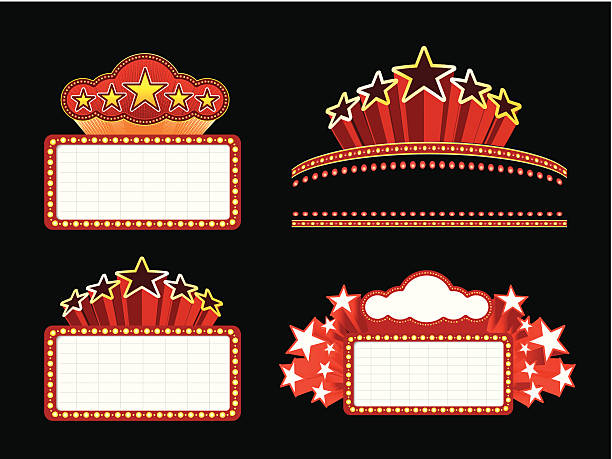 Retro illuminated Movie marquee Blank sign Retro illuminated Movie marquee Blank sign. Vector Set. EPS 10 with transparency. temps stock illustrations