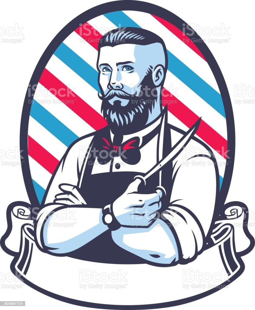retro illustration of barber man vector art illustration