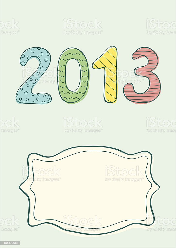 Retro illustration of New year 2013 royalty-free stock vector art