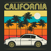 Retro illustration of old classic car, poster with text California, vector illustration