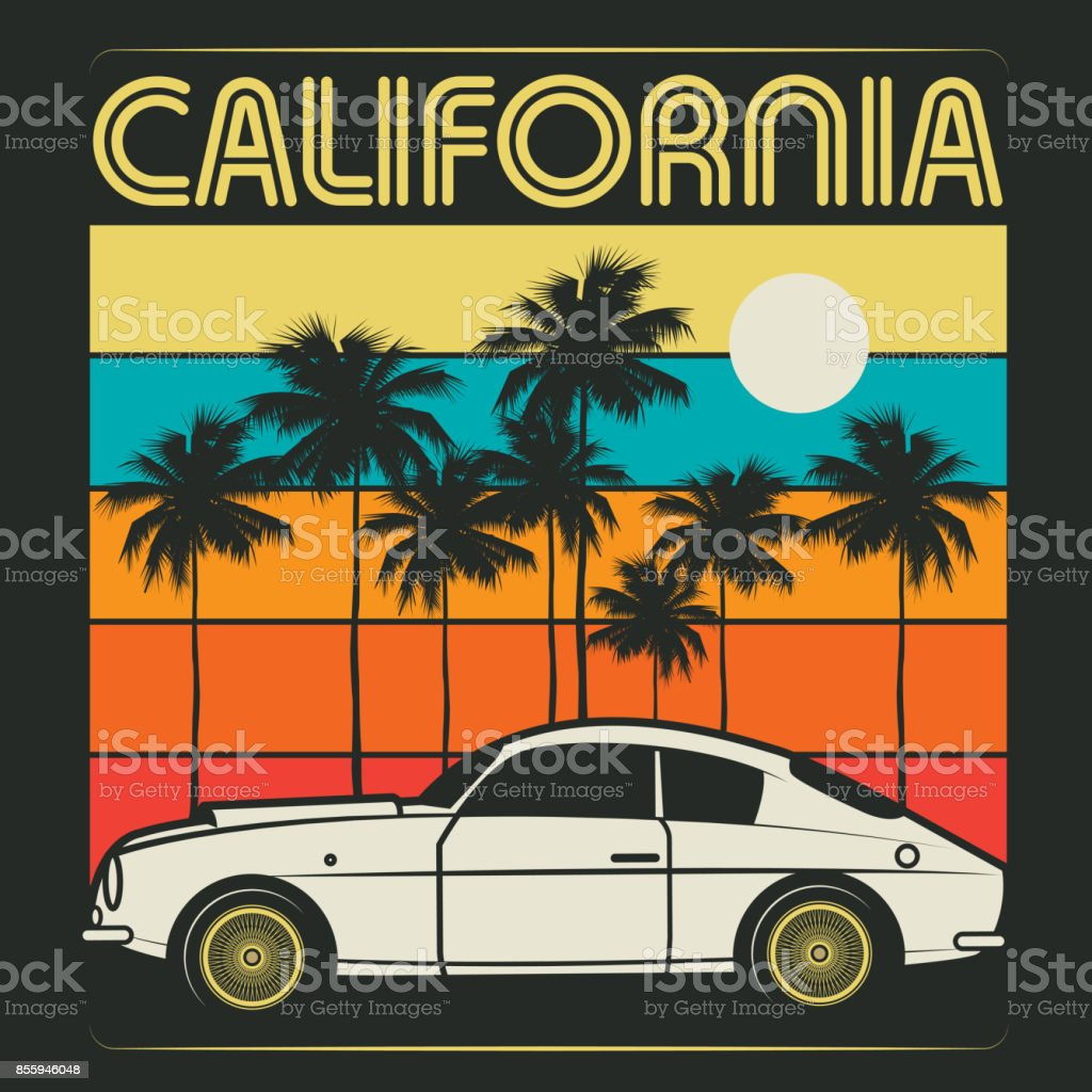 Retro illustration of old classic car text California vector art illustration