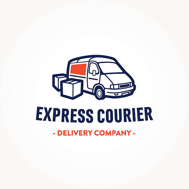 Retro illustration of truck and boxes for delivery company Retro illustration of truck and boxes for creating cool badge, logo, stamp for express courier delivery transportation service company mini van stock illustrations