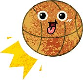 retro illustration style cartoon basketball