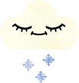 retro illustration style cartoon snow cloud