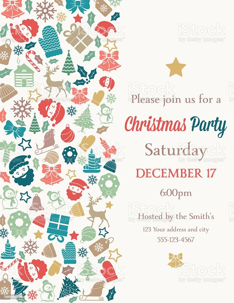 Retro Inspired Christmas Party Invitation Template Stock Vector Art ...